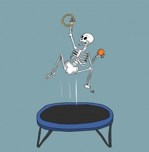 A character from one of our workshops: Skelly on a trampoline with a tambourine & a tangerine!